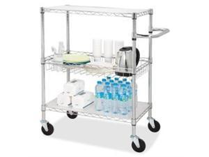 """Lorell 3-Tier Wire Rolling Cart 16""""x26""""x40"""" Chrome 84859"""