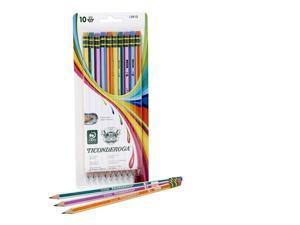 Dixon Ticonderoga Wood-Cased Pencils, #2 HB, Presharpened, Striped Barrels, Box of 10 (13910)