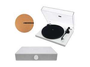 """Andover Audio Spindeck Plug-and-Play Turntable with Speaker System and 12"""" Cork Turntable Slipmat - White"""