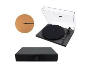 """Andover Audio Spindeck Plug-and-Play Turntable with Speaker System and 12"""" Cork Turntable Slipmat - Black"""