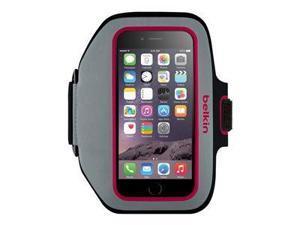 Belkin Sport-Fit Plus Carrying Case (Armband) for iPhone - Sidewalk, Fuschia - Scratch Resistant - Neoprene, Lycra - Armband