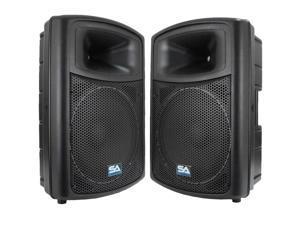 """Seismic Audio - PWS-15 (Pair) - 15"""" POWERED SPEAKERS - 600 Watts RMS - PA/DJ"""