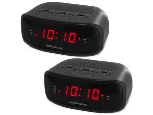 Magnasonic Digital AM/FM Clock Radio with Battery Backup & Dual Alarm - EAAC200 (2 Pack)