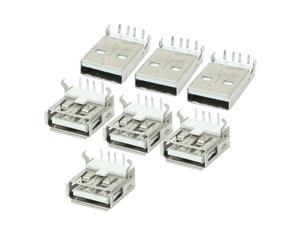 Unique Bargains 7 Pcs USB A Male to Female Jack Plug Solder Connectors Adapter