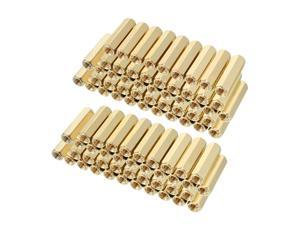 Unique Bargains 90pcs Brass Straight PCB Pillar Female Thread Hex Standoff Spacer M3x5x16mm