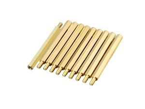 Unique Bargains 10pcs M3 45+6mm Female Male Thread Brass Hex Standoff Spacer Screws PCB Pillar