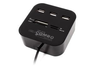 3 Port USB Hub TF/SD/M2 Card Reader Combo Adapter for Computer Laptop