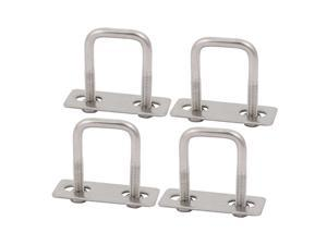 4pcs M6 35mm Inner Width 304 Stainless Steel Square U Bolt w Hex Nut Plate