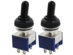 Global Bargains 2 Pcs 125V 6A ON/OFF/ON 3 Position DPDT Toggle Switch w Waterproof Cover Cap