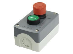 Unique Bargains Unique Bargains 240V 3A Red Emergency Stop Momentary Green Flat Pushbutton Switch Station Box