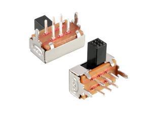50Pcs 6mm Horizontal Slide Switch DPDT 2P2T 6 Terminals PCB Panel Latching