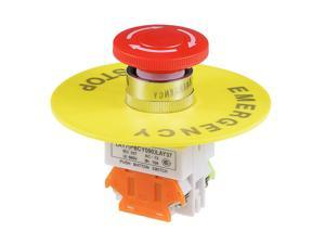 22mm Mounting Hole Latching Emergency Stop Push Button Switch Red With 90mm Emergency Stop Sign 1NO 1NC