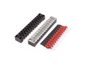 Global Bargains 2 Pcs 600V 15A 12P Dual Row Barrier Terminal Block + 4 x Terminal Stripes