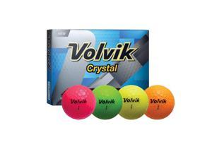 Volvik Crystal 3 Pc Assorted Golf Balls-Pink/Org/ Yellow/Grn - 9733