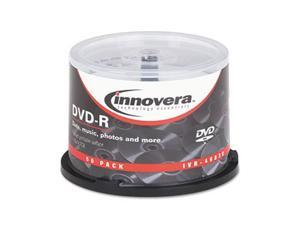 Innovera 46830 DVD-R Discs, Hub Printable, 4.7GB, 16x, Spindle, Matte White, 50-Pack