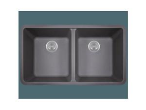 Polaris p208s Double Equal Bowl Astra Granite Kitchen Sink, Silver