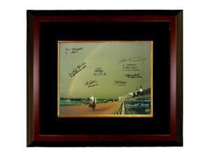 Ron Franklin signed Churchill Downs Kentucky Derby Winners (1978) Horse Racing Rainbow 16x20 Photo 7 signatures Custom Framed