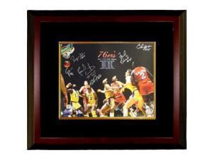 Franklin Edwards signed Philadelphia 76ers 16x20 Photo Custom Framed 1983 NBA Champions w/ 6 Signatures vs Lakers