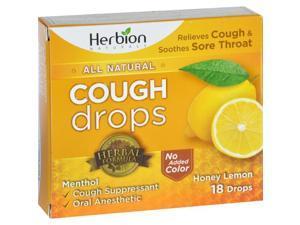 Herbion Naturals 1638253 Cough Drops All Natural, Honey Lemon - 18 Drops