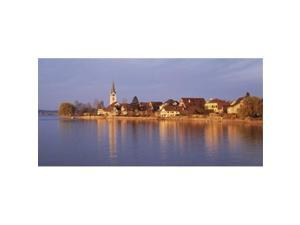 Panoramic Images PPI67311L Switzerland  Berlingen  Town along a shore Poster Print by Panoramic Images - 36 x 12