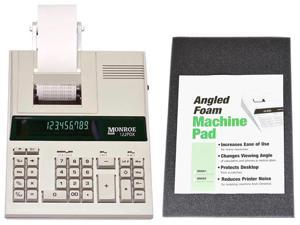 Monroe 122PDX Medium-Duty 12-Digit Print/Display Printing Calculator / Adding Machine With Foam Elevation Wedge