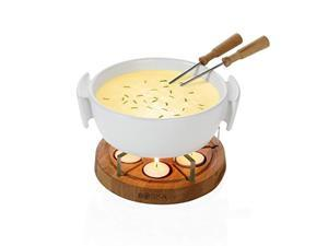 boska holland tea light fondue set with oak wood base, 1 l white stoneware pot, life collection
