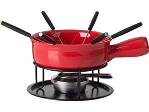 trudeau 0534510 cardinal cheese fondue set, red