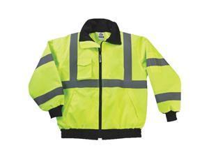 High Visibility Reflective Winter Bomber Jacket, Zip Out Fleece Liner, ANSI Compliant, Ergodyne GloWear 8379, X-Large