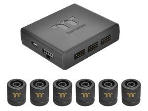 "Thermaltake Pacific RGB Plus TT Premium Edition 6-Pack G 1/4"" PETG Tube 16mm OD 12mm ID Fitting Kit CL-W185-CU00BL-A"