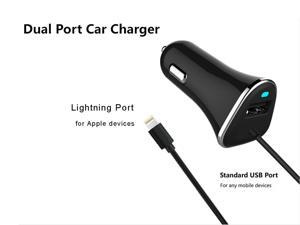 iPhone Car Charger, 17W 5V Lightning Car Charger, PowerDrive Car Charger with 3.3ft Apple Cable, for iPhone XS/Max/XR/X/8/7/6/Plus, iPad Pro/Air 2/Mini, and More