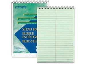 """TOPS Products Steno Book Gregg Rule 80Sheets/PD 6""""X9"""" 12/PK GN Tint 8021DZ"""
