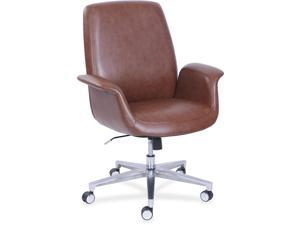 """La-Z-Boy ComfortCore Gel Seat Collaboration Chair - Faux Leather Brown Seat - Faux Leather Brown Back - 20.3"""" Width x 29"""