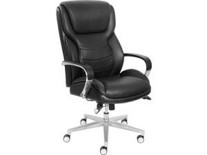 "La-Z-Boy ComfortCore Gel Seat Executive Chair - Faux Leather Black Seat - Faux Leather Black Back - 28.5"" Width x 32.8"""