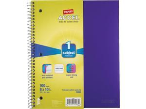 """Staples Poly Cover Notebook Wide Ruled Purple 8"""" x 10-1/2"""" 12 PK 2072464"""