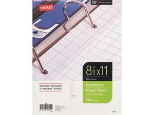 "Staples Reinforced Filler Paper Graph Ruled 4x4 8-1/2"" x 11"" TR25549G/25549"