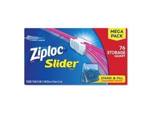 """Ziploc Slider Storage Bags, 1 qt, 5.88"""" x 7.88"""", Clear, 9/Carton 662102"""