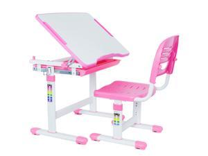 VIVO Height Adjustable Childrens Desk & Chair Kids Interactive Work Station Pink