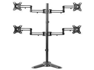 """VIVO Aluminum Freestanding Quad LCD Monitor Mount Fully Adjustable Desk Stand for 4 Screens 17"""" to 32"""" (STAND-V104Z)"""