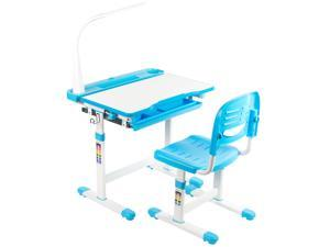 VIVO Blue Height Adjustable Children's Desk and Chair | Kids Interactive Station