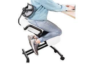 DRAGONN (By VIVO) Ergonomic Kneeling Chair with Back Support for Home & Office, Angled Posture Seat, White (DN-CH-K02W)