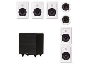 "Acoustic Audio 7.1 Speaker System Flush Mount 7 Speaker Set and 6"" Powered Sub"