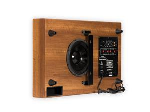 """Theater Solutions SUB8SM Home Theater Powered 8"""" Slim Subwoofer Down Firing or Wall Mount Mahogany Sub"""