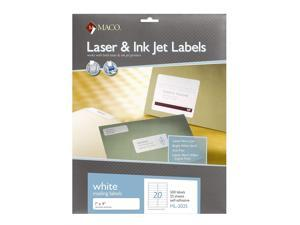 MACO Laser/Ink Jet White Address Labels, 1 x 4 Inches, 20 Per Sheet, 500 Per Pack (ML-2025)