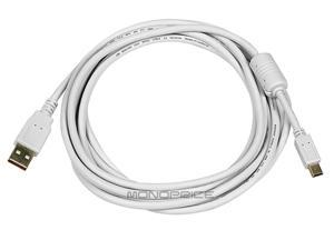 Monoprice USB 2.0 Cable - 10 Feet - White | USB Type-A to USB Mini-B 2.0 Cable - 5-Pin, 28/24AWG, Gold Plated