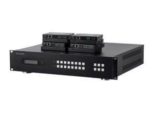 Monoprice 4K 18Gbps HDBaseT 8x8 HDMI Matrix Extender Switch over Cat6 - Black With 8 Receivers and 8 IR Kits - Blackbird