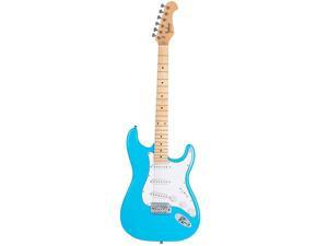 Monoprice Indio Cali Classic Electric Guitar - Blue Burst, With Gig Bag