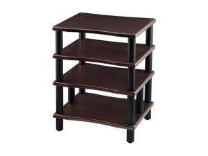 Monoprice Monolith 4 Tier Audio Stand XL - Espresso, Open Air Design, Each Shelf Supports Up to 75 lbs., Perfect Way to Organize AV Components