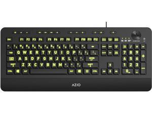 Azio Vision Backlit Computer Keyboard - Wired USB Keyboard with LARGE PRINT keys and 5 Interchangeable Backlight Colors (KB506)