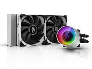DEEPCOOL Castle 240EX White, Addressable RGB AIO Liquid CPU Cooler, Anti-Leak Technology Inside, Cable Controller and 5V ADD RGB 3-Pin Motherboard Control, TR4/AM4 Supported