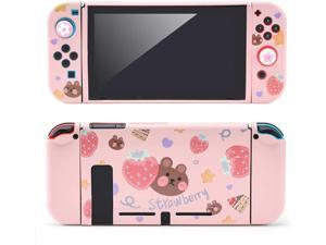 Tscope Protective Case for Nintendo Switch, Pink Soft TPU Slim Case Cover for NS Console and Joy-Con Controllers, with Tempered Glass Screen and 2 Thumb Grips Caps (Strawberry Bear)